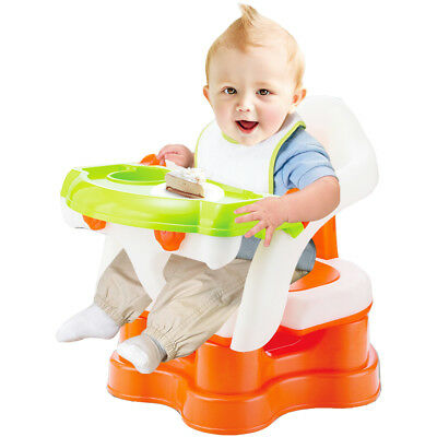 3-In-1 Baby Bath Seat Dining Chair Booster Seat With Armrest,Orange