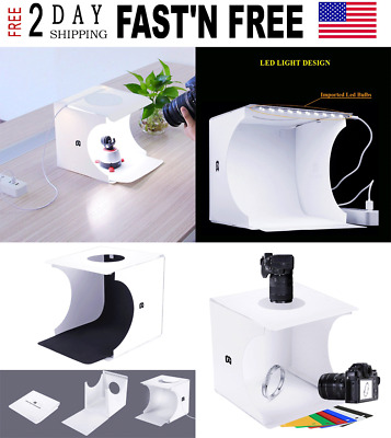Instant Home Photo Studio Portable Folding Lightbox LED Light 6 Color Background