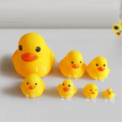 Kids Water Bathing Yellow Duck Baby Bath Toy Set Squeezing Rubber Duck