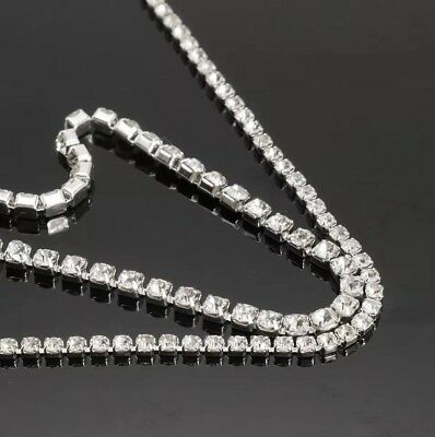 2 3 4 mm 50cm - 1 Metre+ Diamante Rhinestone Trim Chain Belt rope Silver Crystal