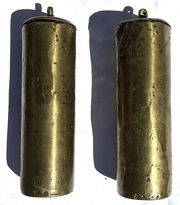 Lovely Pair Of london Antique Long Case Grandfather Clock Brass Cased Weights