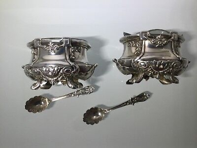 Antique French Salt Cellars 950 Silver With Spoons