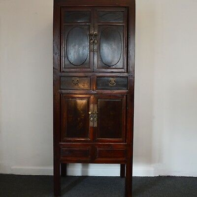 Black and Red Lacquered Chinese Cabinet