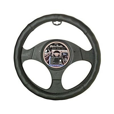 Car+ Automotive Interior Genuine Leather Pure Black Steering Wheel Cover. -