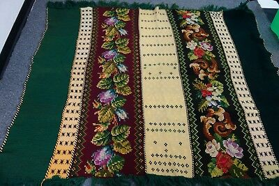 Victorian Crocheted Wool Afghan- Embroidered Roses/Pansies- 58x68- GORGEOUS-SALE