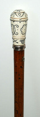 Antique Walking cane. Rare Pique cane dated 1704