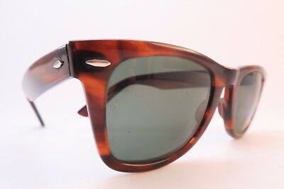 Vintage B&L Ray Ban Wayfarer sunglasses acetate etched lens made in the USA