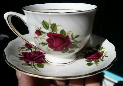 Sweet Colclough Red Roses Tea Cup and Saucer Bone China