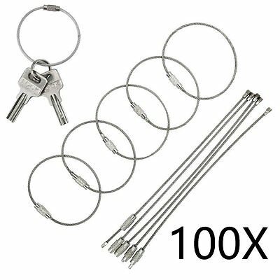 100pcs 4 10cm Stainless Steel Wire Cable Keychain Key Chains Rings