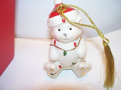 Lenox Christmas Teddy Bear Lights Ornament Very Merry Porcelain