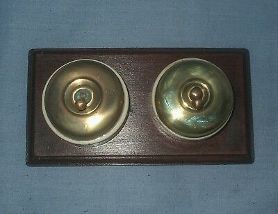 *2 - Vintage, Brass & Ceramic Switches - Mounted on a Wooden Pattress*
