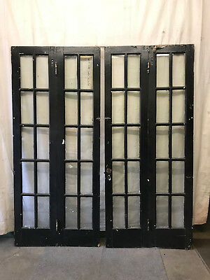 Pair Vintage Bi-Fold French Doors Wood Window Glass Panes Antique 36x82-1/2