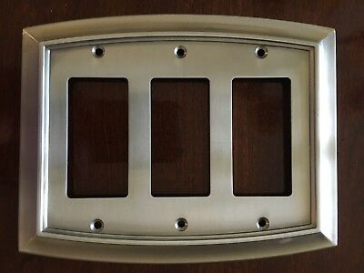 Brainerd Arched Triple Decorator Satin Nickel Outlet Wall Plate Free Ship W36441
