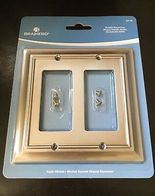 Brainerd Architectural Double Decorator Satin Nickel Wall Plate 64175 Free Ship