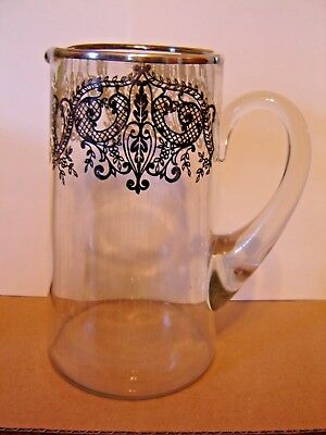 "Vintage Silver Overlay Glass Pitcher 8 1/2"" high"