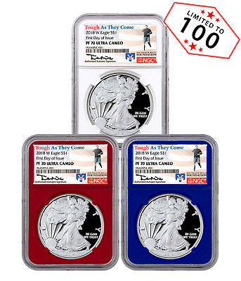 3-Coin Set - 2018-W Proof Silver Eagle NGC PF70 UC FDI RWB Travis Mills SKU53464