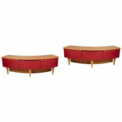 Large Pair of Modern Red Leather Mounted Wood Corner Cabinets or Commodes