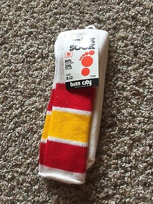 NEW Vintage 70s Twin City Super Cushioned Striped Tube Socks Made In Usa 8-12