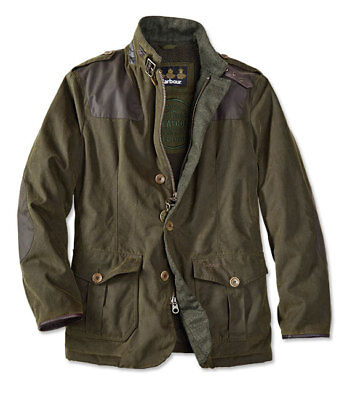 $525 Barbour® Wyton Jacket Greatcoat Green waxed cotton Medium EUC!