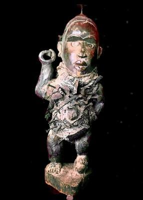 Old   Tribal Large Bakongo Nail Power Figure    ---  Congo