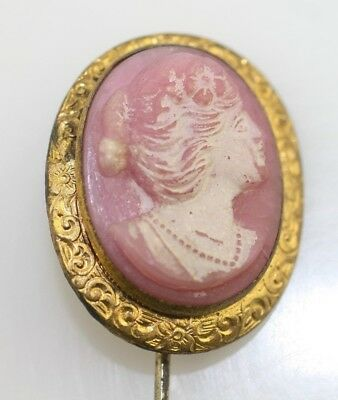 Antique Vintage Pink Glass Cameo stick hat pin in Brass Mount. c1930 gold tone