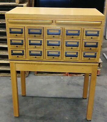 Antique Vintage Wooden Library Card Catalog File late 70's Early 80's Excellent