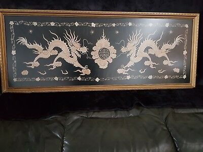 Vintage/Antique Chinese  Silk Hand Embroidery Dragons large framed panel