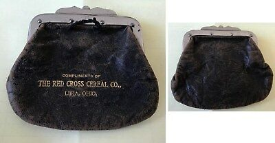 RARE Antique LIMA OHIO RED CROSS CEREAL CO leather coin purse VG cond