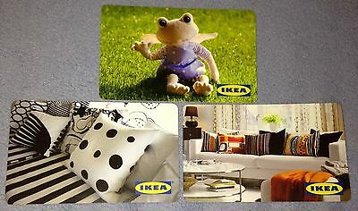 "Ikea Canada Lot Of 3 Gift Card Collectible Cards ""frog/pillows"" No Value New"