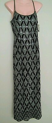 NWOT PAPELL BOUTIQUE Evening Dress Womens Black 100% SILK Sequined Size 6 Small