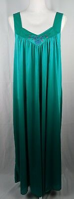 Sears Just For Woman Womens Long Semi Sheer Nightgown Size Fits 1X 2X 3X Green