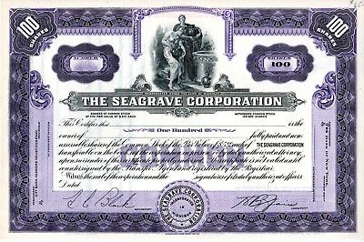Seagrave Corporation of Columbus, Ohio (now Wisconsin) Stock Certificate