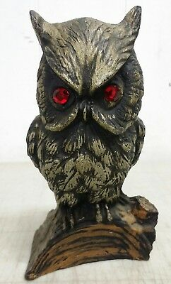 "Vintage 6"" Great Horned Owl Figurine, Ruby Eyes, Handcrafted From Coal & Painted"