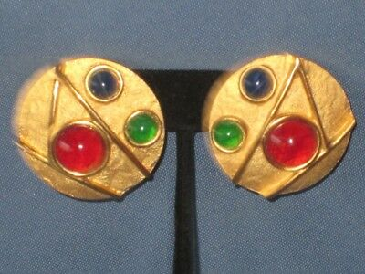 Vintage Gold-Tone Metal Red Green & Blue Cabochon Clip Earrings