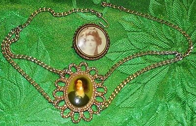 2Pc.vtg.lot Old Mourning Victorian Lady Picture Antique Pin Old Necklace Vtg.lot
