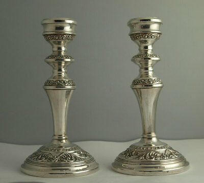 Ornate Pair Of Vintage Solid Silver Candlesticks - Birm. 1962