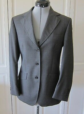 TREA,Italy,LORO PIANA super 110s wool,WOMEN 3 BUTTONS charcoal BLAZER,IT 42 US 6