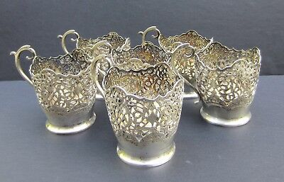Set of 6 Antique Persian Solid Silver Cup Holders--550 grams-Islamic/Middle East