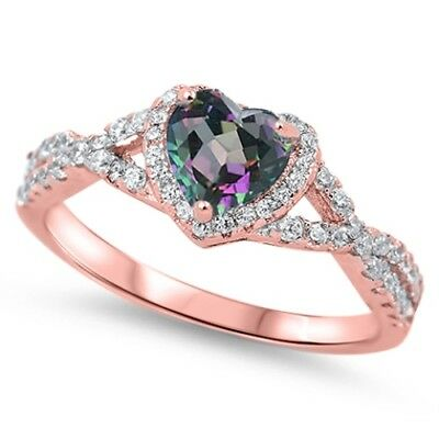 .925 Sterling Silver Heart Rainbow Topaz CZ Fashion Promise Ring Size 4-12 NEW