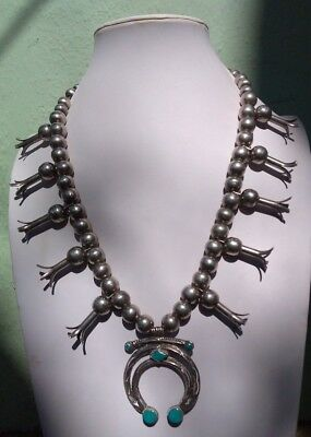 Vintage Navajo Indian Silver Squash Blossom Blue Gem Turquoise Naja Necklace