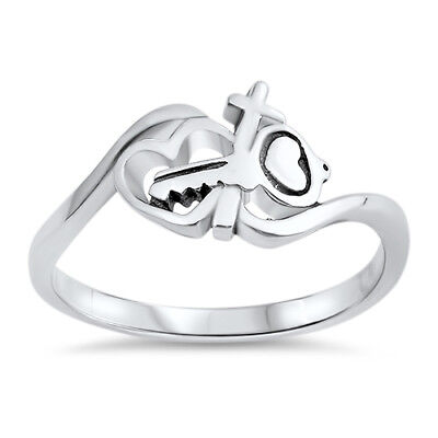 Key to My Heart Purity Cross Band Ring .925 Sterling Silver Sizes 5-10 NEW