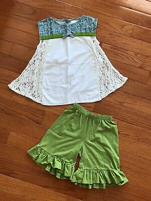 Persnickety Garden Party Lace Nia Top Green Ruffle Mae Shorts Size 8