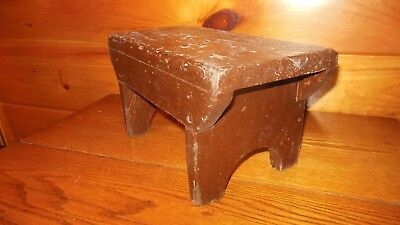 Vintage Handmade Wooden Primitive Stool / Early Square Nails