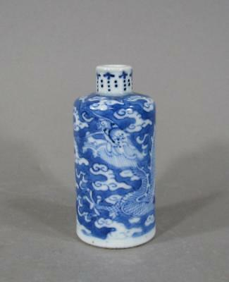 Signed Antique Chinese Blue & White Porcelain Dragon Snuff Bottle, Character Mk