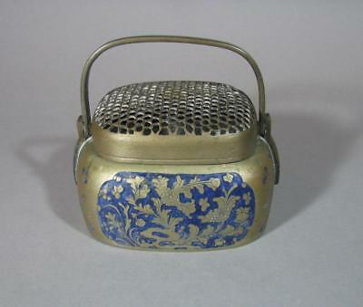 Nice Antique Chinese Paktong & Enamel Hand Warmer, Brass