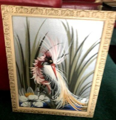 RARE & EXCEPTIONAL Art Deco Original Oil On Canvas Framed Water Bird Painting