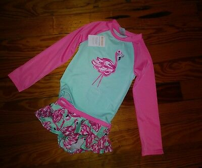 NWT Gymboree Toddler Girls Swimsuit Long Sleeve Rashguard Flamingo Size 5T