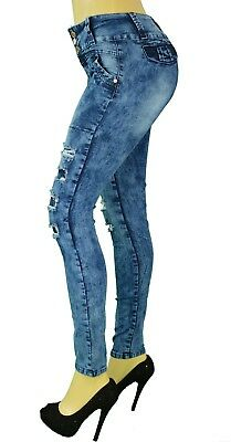 High Waist Stretch Push-Up Colombian Style Skinny Jeans in Acid Washed N2415