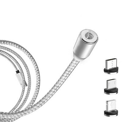 Magnetic Cable Braided Micro USB Charger Charging For iPhone Samsung Type-C