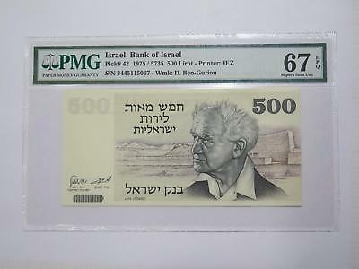 Bank Of Israel 1975 500 Lirot Pmg 67 Epq P#42 World Banknote Collection Lot